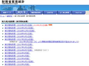 財務省貿易統計のホームページ